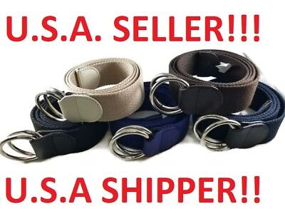 Canvas Fabric Double Ring Web Golf Belt Military Buckle Waistband UnisexS M L XL