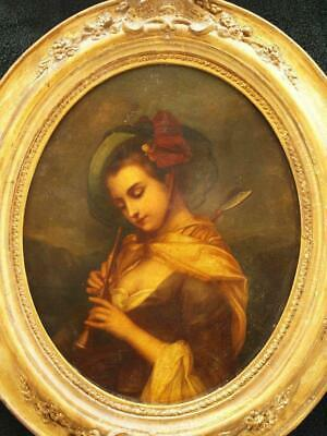 FINE 19th Century PORTRAIT YOUNG LADY PLAYING FLUTE Antique Oil Painting