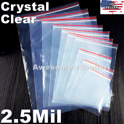 Clear Zip Lock Bags 2.5Mil Plastic Ziplock Reclosable Storage Large Poly Zipper