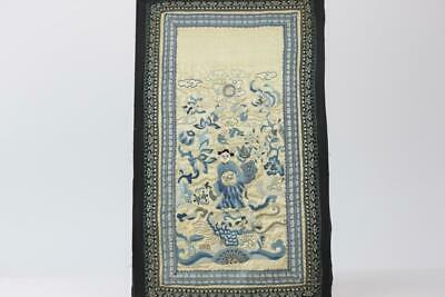 ANTIQUE CHINESE SILK EMBROIDERED PANEL SIGNED. FIGURE, BATS, DRAGON 49cm x 27cm