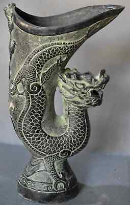 China Ancient Old Bronze Carve Dragon Lizard Tibet Emperor Use Collectable Cup