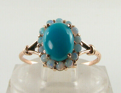 9K 9CT ROSE GOLD PERSIAN TURQUOISE & AUS OPAL ART DECO INS CLUSTER RING FREE Sz