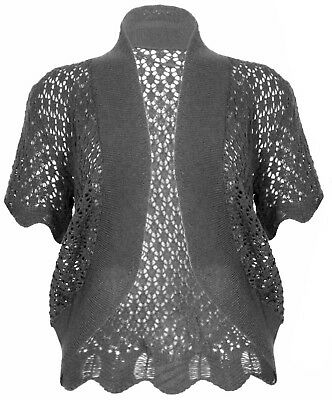 Womens Dark Grey Knit Bolero Short Sleeve Crop Cardi Shrug Top Ladies