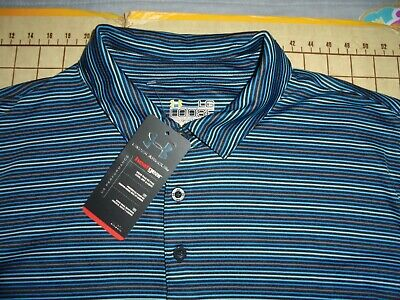 3da430ef UNDER ARMOUR MENS Grey Striped Polo Shirt Size Large - $8.54 | PicClick