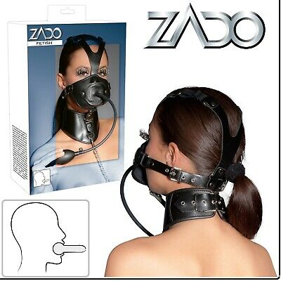 Sexy Toys Leather Head Mask Penis Gag Inflatable Collar Leash ZADO Fetish BDSM