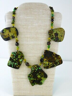 Artisan Stone Slab Statement Necklace Smoky Quartz Dyed Howlite Green Orange