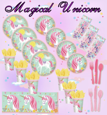 Girls Pink Unicorn Magical  Plates Cups,Napkins Cup Cases & Picks PartyTableware