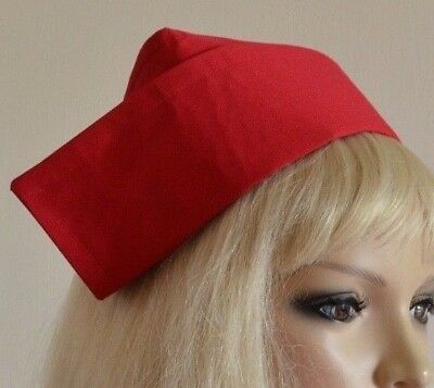 NURSE HAT COTTON FABRIC VINTAGE STYLE STARCHED SYLE CAP 40s 50s 60s 70s