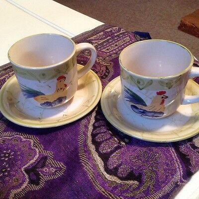Scotts Of Stow Chicken Cockerel Two Cups Two Saucers Very Good Condition