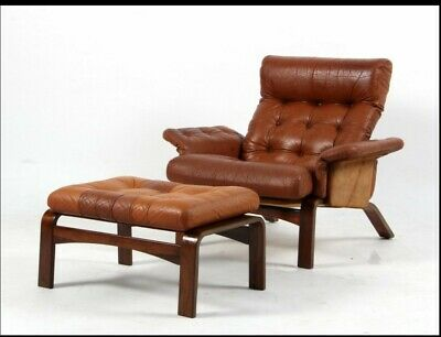 VINTAGE RETRO  NORSK COGNAC LEATHER LOUNGE CHAIR AND OTTOMAN 1960,s