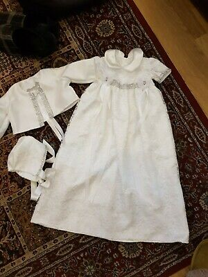 New Handmade White 3 Piece Christening Dress Jacket And Bonnet Age 3-6 Months