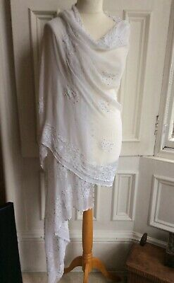 Bridal Party White Hand Embroidered Silver Beads V Lg Crepe Shawl Scarf Dupatta