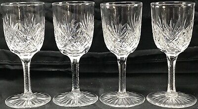 Rare Antique Abp Set Of 4 High Quality Cut Glass Cordial Or Wine Stems