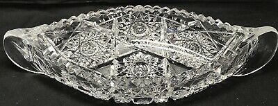 """Rare Antique Abp 12"""" Pitkin And Brooks Plaza Pattern Cut Glass Canoe Tray Bowl"""