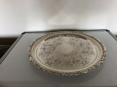 Stunning  Large Quality Silver Plated Circular Tray Decorated With Grapes (Tr88)