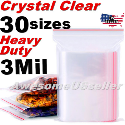 Clear Thick 3-Mil Ziplock Bags HEAVY-DUTY Reclosable Zip Top Plastic Zipper Poly