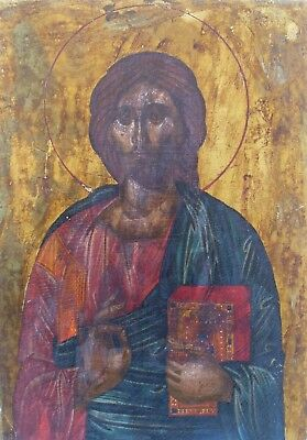 Antique Greek Orthodox Hand Painted Icon on canvas of Jesus Christ