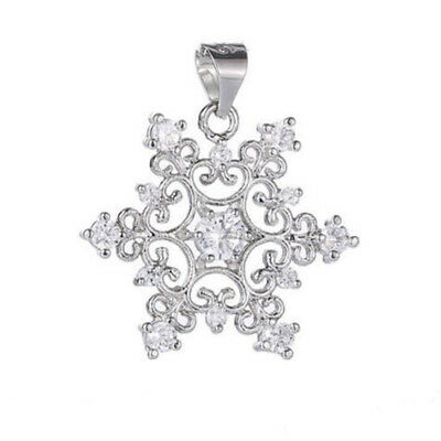 Fashion Women  Silver Plated Hollow  Snowflake Crystal Necklace Pendant Jewelry