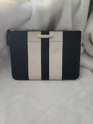 6705aac7e2 COLE HAAN Womens Large Pouch Clutch Wallet Cosmetic Bag Black Cream Leather