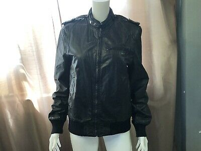 49eb7e1db BERMANS MENS GRAY Leather Size 42 Lined Bomber Motorcycle Aviator ...