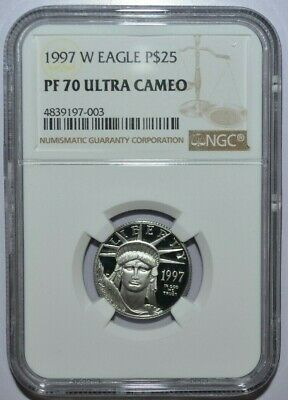 1997-W $25 PLATINUM STATUE LIBERTY 1/4 Oz. EAGLE  NGC PF70
