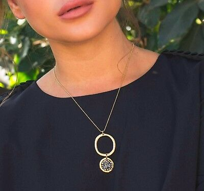 Gold 24k Plated Necklace 2 Rounded Casting Smoky Gray Crystal Stone Pendant