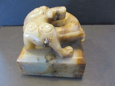 S38 Vintage Oriental Chinese Carved Jade Stone Dragon On Block Lettered Bottom