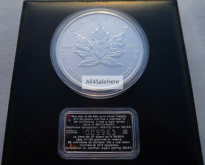 1998 Canada 10 oz $50 10th Anniv Silver Maple Leaf Coin + 925 Certificate In Box