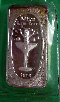 Happy New Year 1974, Art Bar Fine Silver .999 1 troy ounce, Great Lakes Mint