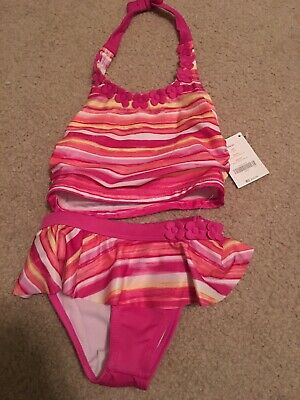 e00418937e77f NWT Gymboree Girls Size 4 2-piece Pink Striped Bathing Suit W/Flower Detail