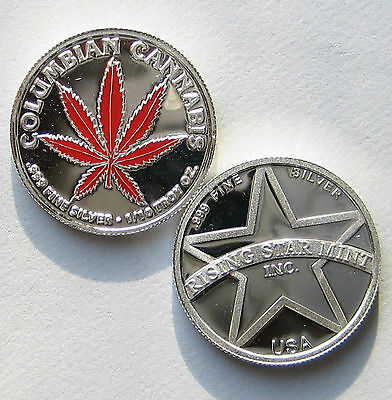 1/10th Troy Oz Pure .999 solid silver Columbian Red Leaf Cannabis Bullion Coin