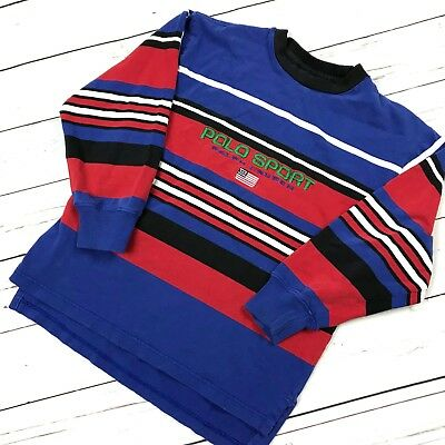 Vtg 90s POLO SPORT Ralph Lauren Retro Striped Long Sleeve Shirt BOYS Youth Small