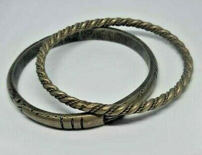 Ancient-viking-twisted silver bracelet very stunning decorated design rare type