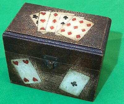 Old Antique  Wooden Wood  Wide Playing Cards  Double Card Box  #1