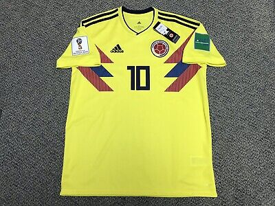 1cfc0cba8 2018 Colombia James Rodriguez Jersey Shirt Kit Yellow Home Adidas 10 L  Large New