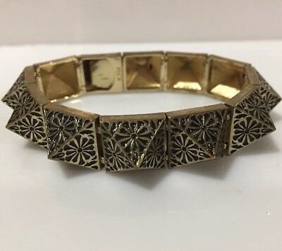 nOir for L.A.M.B. Pyramid Stud Bracelet Floral Design Antiqued Gold & Black 7 in
