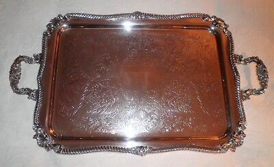 ANTIQUE GORGEOUS SILVERPLATE-ON-COPPER FOOTED w/HANDLES BUTLER'S SERVING TRAY