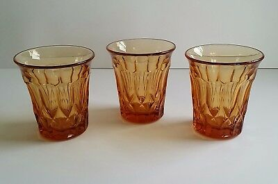 Set of 3 Elegant Glass Amber Whiskey Liquor Glasses Tumblers EXCELLENT CONDITION