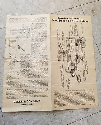 1880's John Deere (Deere & Co.) Gang Plow Operating Instructions Manual / Rare!!