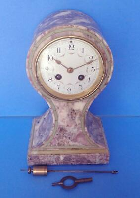 Antique French Pedestal Clock In Marble By Japy Freres 8-Day Time & Strike