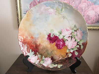 JPL Jean Pouyat Limoges France Hand Painted Charger Plate Red And Pink Roses