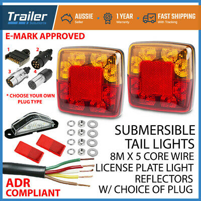 Led Tail Trailer Lights Kit -Plug, Number Plate Light, 5 Core Wire, Reflectors