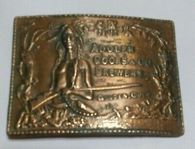 Vintage Adolph Coors Brewery Beer Belt Buckle Man Gun Rifle Golden Cold