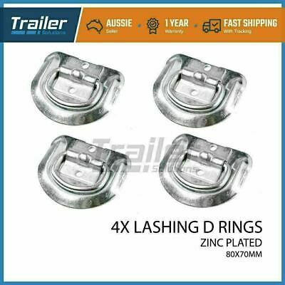 4 X Lashing D Ring Zinc Plated Tie Down Anchor Point Ute Trailer 80 X 70Mm