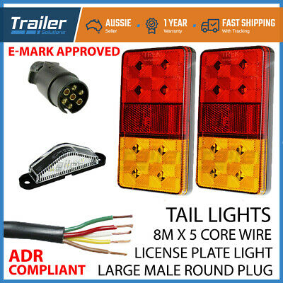 Trailer Light Kit Pair Of Led Lights,1 Xplug, 8Mx 5 Core Wire,Number Plate Light