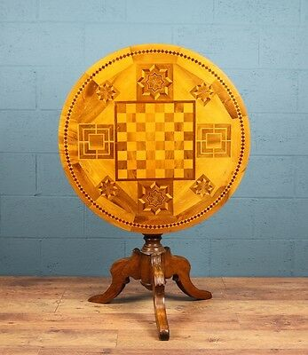 Antique Italian marquetry tilt top table  (100143)