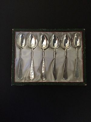 Old  (asian) 900 silver bamboo motif spoons set of 6