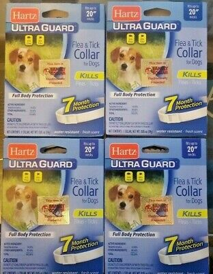 4 New Hartz Ultra Guard Flea & Tick Collar For Dogs 7 Month Protection (20'')