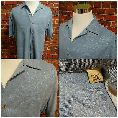 Exc Cond Tommy Bahama Jacquard Print Blue Mens Large Shirt