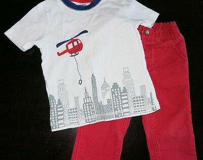 GYMBOREE TODDLER BOYS' RED PULL ON JEANS/T-SHIRT LOT of 2 SIZE 18-24 MONTHS